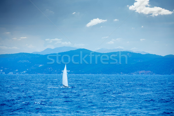 photo of beautiful ship in the sea on the wonderful mountains ba Stock photo © Massonforstock