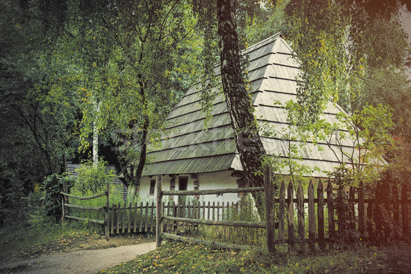 photo of beautiful view of village house on the wonderul trees b Stock photo © Massonforstock