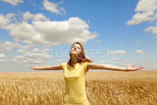 Lány búzamező nyáridő égbolt nők fény Stock fotó © Massonforstock