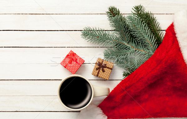 Сток-фото: Кубок · кофе · Рождества · подарки · белый · деревянный · стол