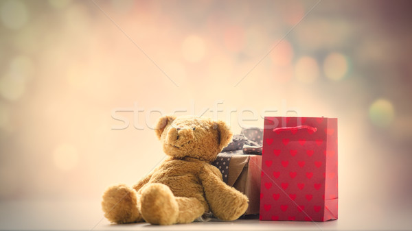 cute teddy bear, shopping bag and beautiful gift on the fairy li Stock photo © Massonforstock
