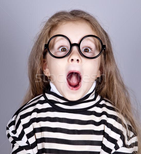 Jungen schreien Kind Gläser gestreift gestrickt Stock foto © Massonforstock