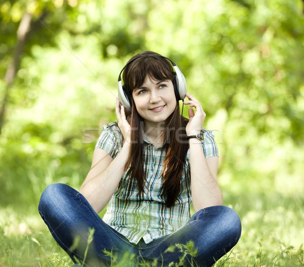 Stock fotó: Fiatal · divat · lány · fejhallgató · zöld · tavasz