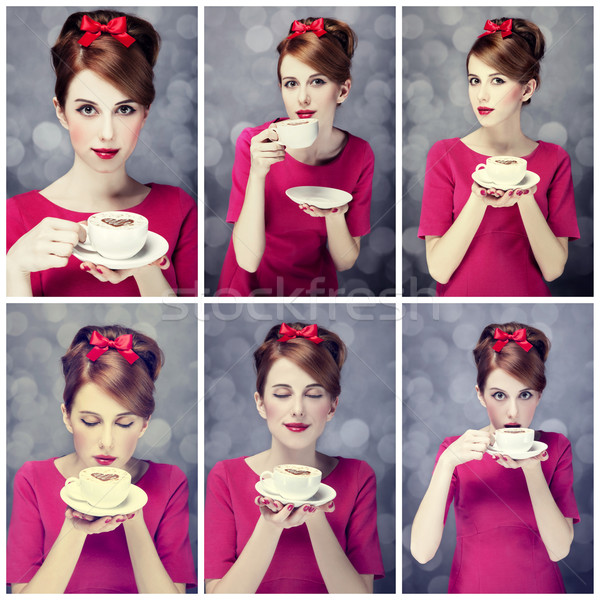 Photo collage - redhead girl with coffee cup. St. Valentine Day Stock photo © Massonforstock