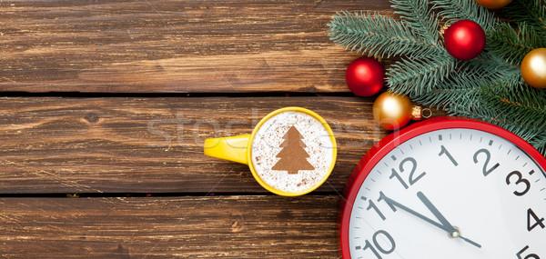 Кубок капучино часы деревянный стол фон красный Сток-фото © Massonforstock