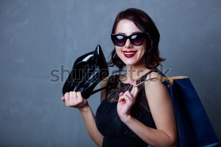 Stil kız siyah elbise güneş gözlüğü mavi Stok fotoğraf © Massonforstock