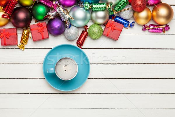 Beker koffie mooie christmas decoraties prachtig Stockfoto © Massonforstock