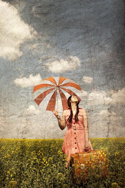 Foto d'archivio: Bruna · ombrello · valigia · primavera · campo · foto