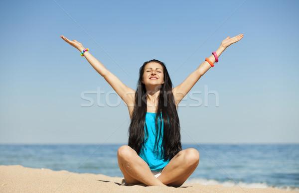 Zdjęcia stock: Piękna · dziewczyna · plaży · kobiet · szczęśliwy · piękna · niebieski