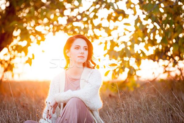 Femme blanche blazer automne temps extérieur Photo stock © Massonforstock