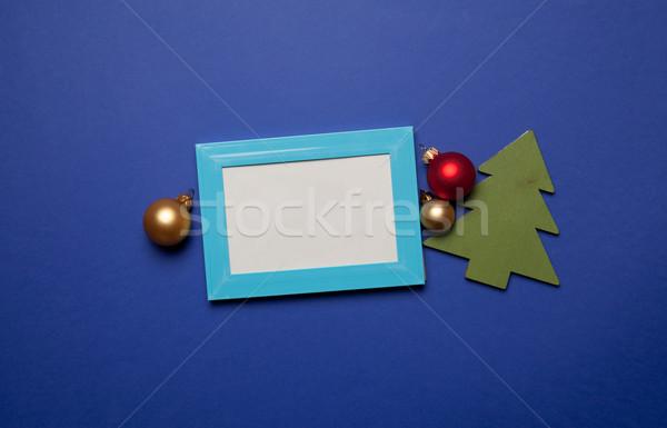 Photo frame Natale giocattolo blu frame colore Foto d'archivio © Massonforstock