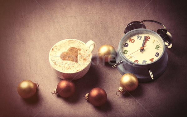Cup of coffee with heart shape near alarm clock  Stock photo © Massonforstock