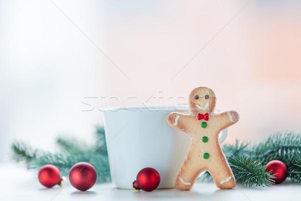 Gingerbread man with cup and christmas  Stock photo © Massonforstock