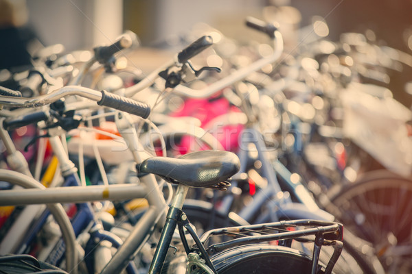 beautiful view on bicycles on parking places close up  Stock photo © Massonforstock