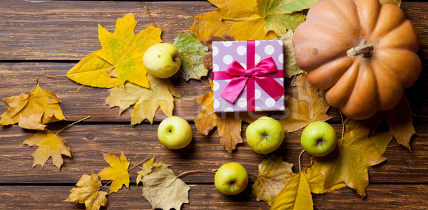 Stock photo: Pumpkin and gift