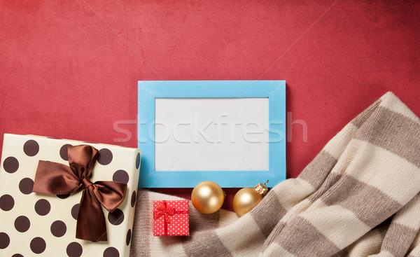 Fényképkeret karácsony ajándékok piros keret doboz Stock fotó © Massonforstock