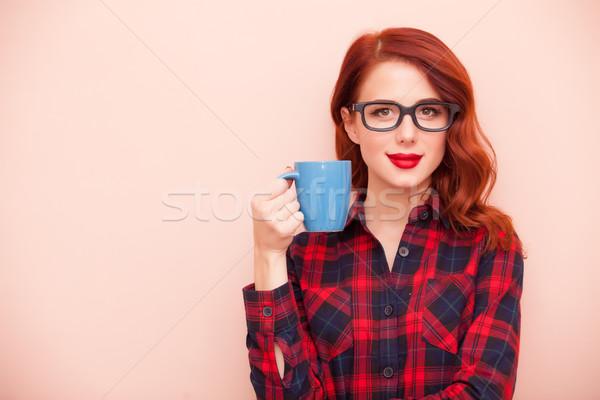 красивой Кубок кофе замечательный женщину Сток-фото © Massonforstock