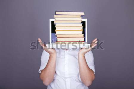 Funny men with books and white notebook.  Stock photo © Massonforstock