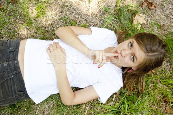Meisje show stil symbool vrouw voorjaar Stockfoto © Massonforstock