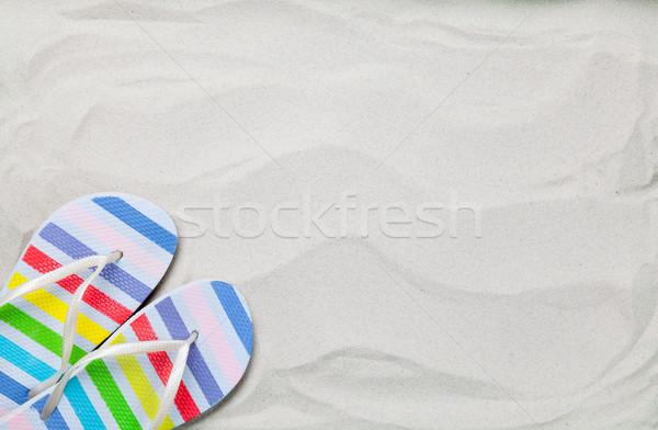 Színes nyár papucs fehér homok fotó magasról fotózva Stock fotó © Massonforstock