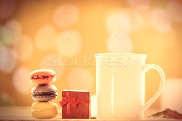 Copo café chá macarons caixa de presente outono Foto stock © Massonforstock