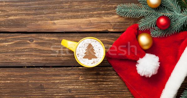 Cappucchino karácsonyfa forma csésze fa asztal kávé Stock fotó © Massonforstock