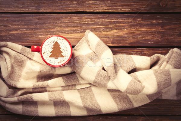 Cappuccino arbre de noël forme écharpe bois bois Photo stock © Massonforstock