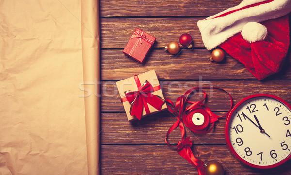 Christmas verpakking houten papier klok ontwerp Stockfoto © Massonforstock