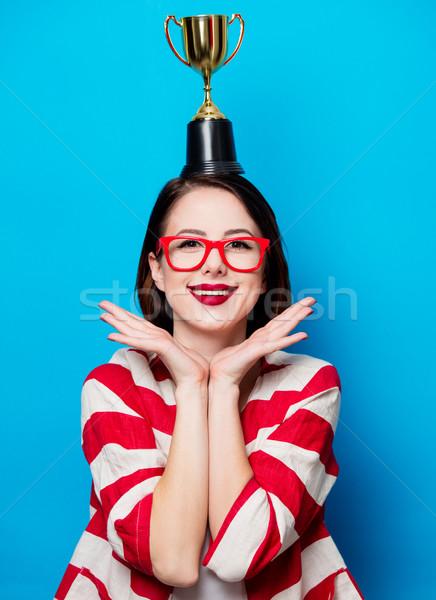小さな 笑顔の女性 カップ トロフィー 肖像 美しい ストックフォト © Massonforstock