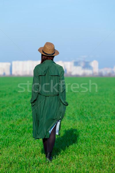 Foto stock: Hermosa · pie · hierba · maravilloso · verde