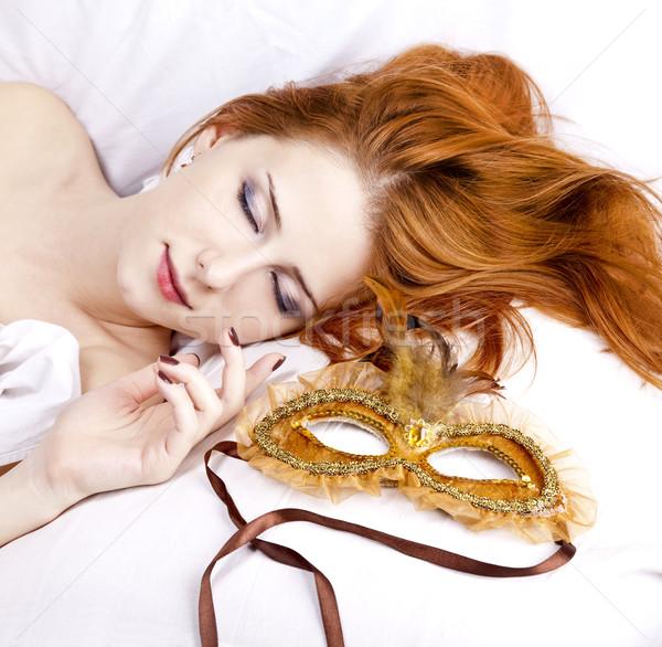 Slapen vrouw carnaval masker mooie witte Stockfoto © Massonforstock