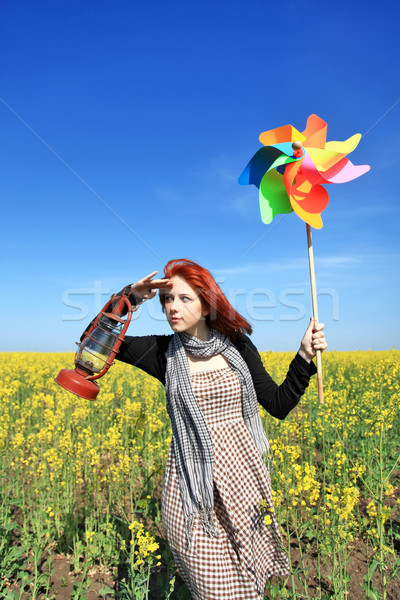 Jong meisje windturbine veld hemel voorjaar abstract Stockfoto © Massonforstock