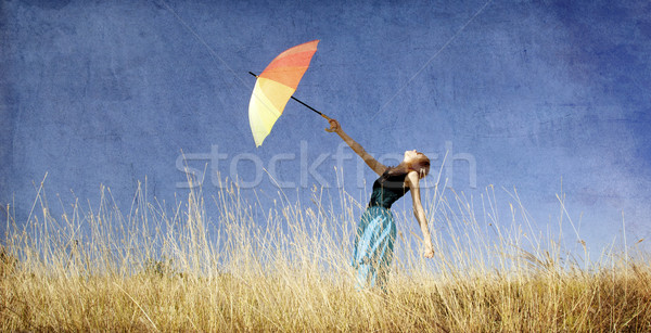 Stockfoto: Meisje · paraplu · winderig · gras · weide