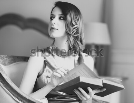 Girl in cafe. Photo in black and white style. Stock photo © Massonforstock