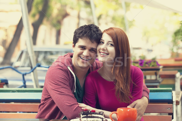 Junger Mann Mädchen Kaffeehaus Mann Kaffee Stadt Stock foto © Massonforstock