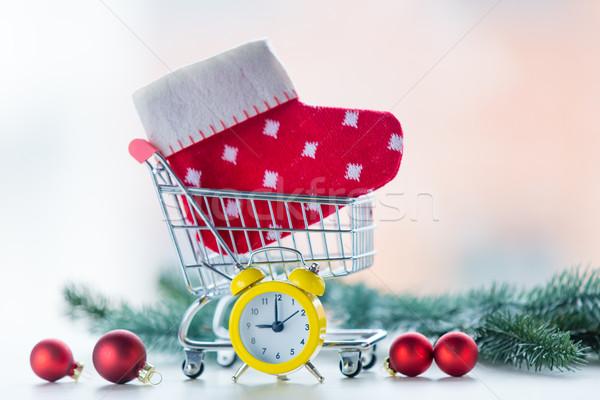 çalar saat Noel çorap alışveriş sepeti sevmek dizayn Stok fotoğraf © Massonforstock