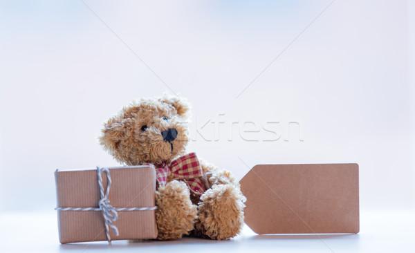 Cute orsacchiotto prezzo tag bella regalo Foto d'archivio © Massonforstock