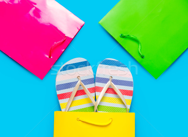 colorful sandals in cool shopping bag near other beautiful shopp Stock photo © Massonforstock