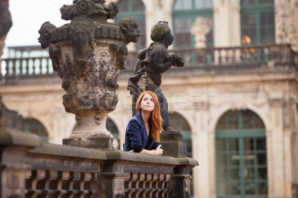 Belle jeune femme permanent balcon mode Photo stock © Massonforstock