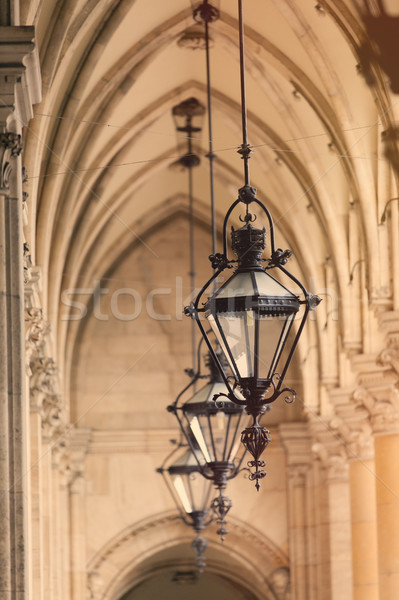 beautiful view on vintage lamp posts on the roof background Stock photo © Massonforstock