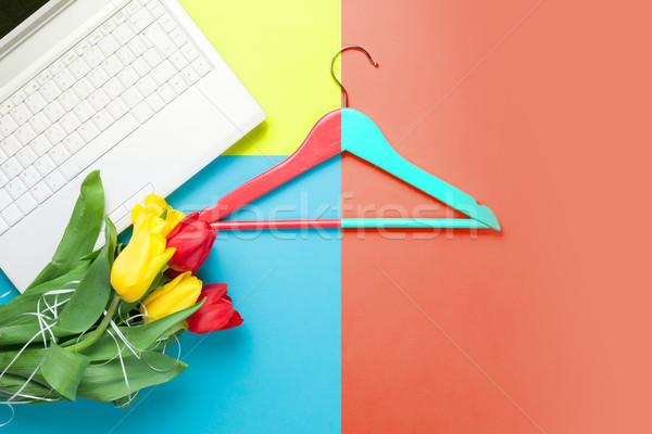 Bos tulpen laptop hanger prachtig kleurrijk Stockfoto © Massonforstock