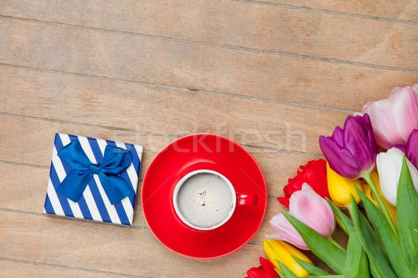 Foto beker koffie cute geschenk kleurrijk Stockfoto © Massonforstock