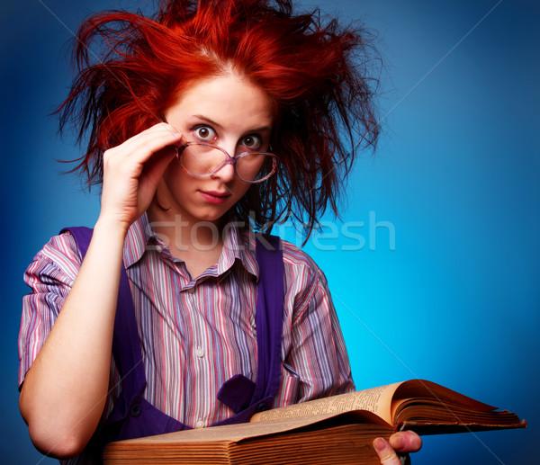 小さな 少女 古い 魔法 図書 笑顔 ストックフォト © Massonforstock