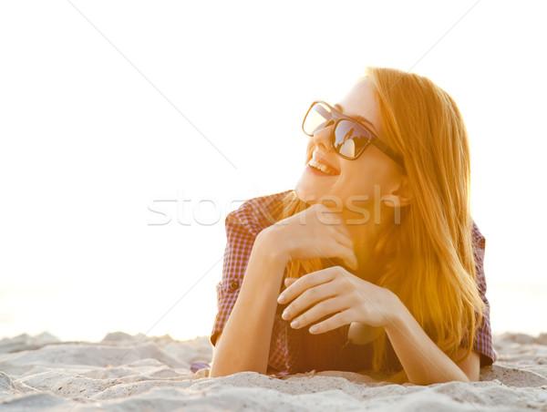 Photo stock: Fille · casque · plage · sunrise · ciel