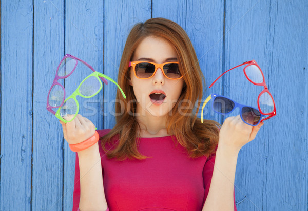 Style girl with glasses Stock photo © Massonforstock