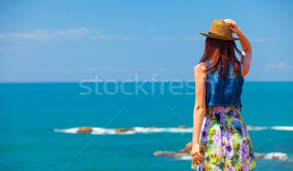 woman near the ocean Stock photo © Massonforstock