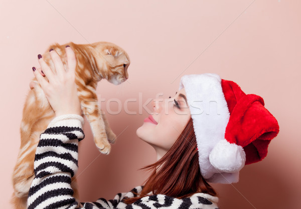 woman with cat Stock photo © Massonforstock