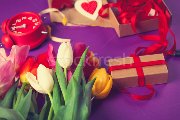 Flowers and gifts before wrapping Stock photo © Massonforstock