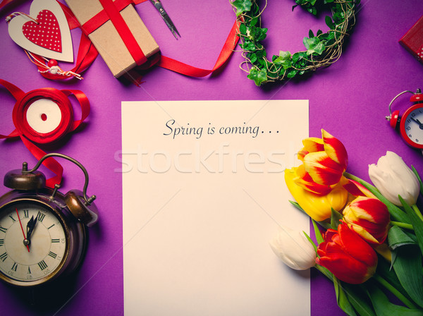 tulips and paper with words Spring is coming  Stock photo © Massonforstock