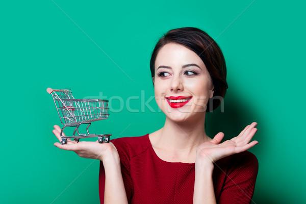 Boldog nő bevásárlókosár portré fiatal zöld Stock fotó © Massonforstock